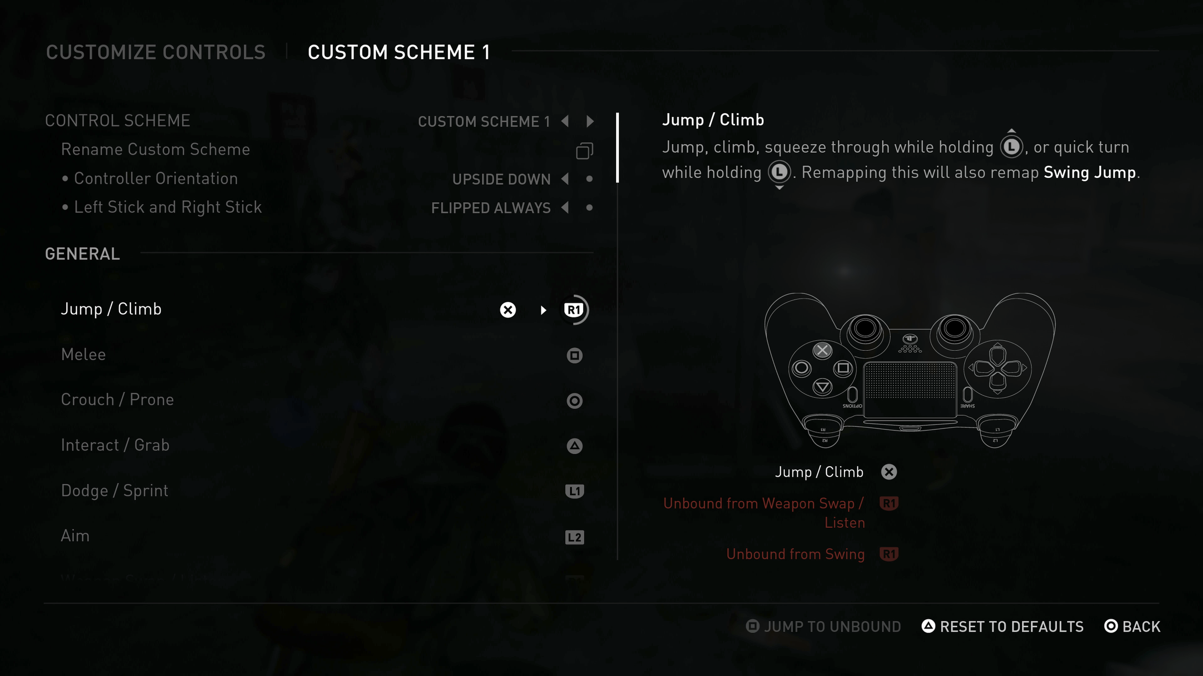 Control Customization Menu